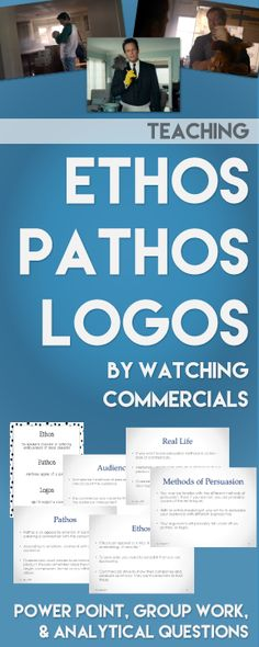 Teaching ethos pathos and logos? Use this power point to study real commercials and keep your students engaged. Teacher Tools, Teacher Resources, School Resources, Education English, Teaching English, Ap 12, Ap Language And Composition, Middle School English, School Classroom
