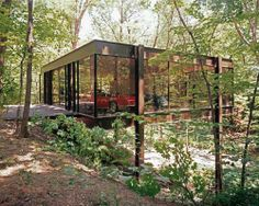 "glass house in woods • this is the garage House they used in ""Ferris Buller's Day Off"""