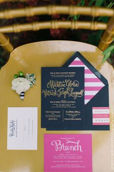 my wedding invitation! Gold Foil Calligraphy Invitation with Navy and by MargotMadison, $15.40