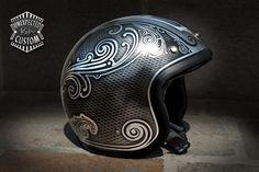 "Open face helmet ""Old School n°1""Unexpected Custom - Fine Arts Unlimited... for Bikers"