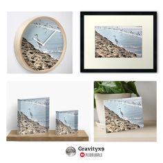 White crane walk the edge of the shoreline Art and Home Decor Accents by #Gravityx9 Designs at Redbubble -
