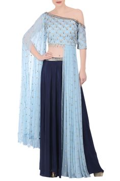 Shop Nidhika Shekhar - Pastel blue crop top with navy blue skirt Latest Collection Available at Aza Fashions Kurti Designs Party Wear, Kurta Designs, Blouse Designs, Stylish Dress Designs, Stylish Dresses, Indian Designer Outfits, Designer Gowns, Indian Dresses, Indian Outfits