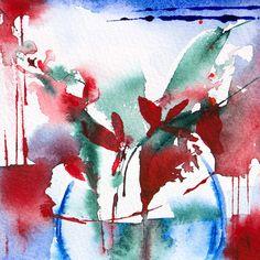 Petit instant N° 291 (Peinture), 10x10 cm par Véronique Piaser-Moyen Aquarelle originale sur papier 300 G