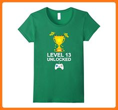 Womens Funny 13th Birthday Level 13 Unlocked T-shirt Gamer Gift Kid Large Kelly Green (*Partner Link)