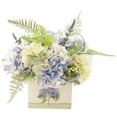 August Grove Mixed Hydrangea and Fern Floral Arrangement in Tin Pot Peonies And Hydrangeas, Hydrangea Bouquet, Hydrangea Not Blooming, Green Hydrangea, Hortensien Arrangements, Artificial Floral Arrangements, Flower Arrangements Simple, Funeral Arrangements, Artificial Flowers