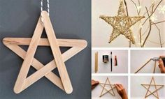 Make a star in recycled materials Handmade Christmas Decorations, Christmas Activities, Christmas Crafts For Kids, Xmas Crafts, Diy Christmas Ornaments, Craft Stick Crafts, Simple Christmas, Kids Christmas, Diy Weihnachten