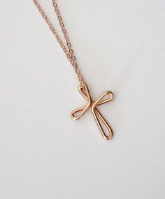 Cross Necklace Rose Gold Continuous Love Celtic Cross Knot Religious Jewelry Baptism First Communion Gift Diamond Initial Necklace, Letter Necklace, Dainty Necklace, Bar Necklace, Necklace Ideas, Necklaces, Gold Necklace Simple, Diamond Pendant, Piercing