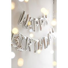 Happy Birthday Metallic Party Balloon Kit (405 MXN) ❤ liked on Polyvore featuring silver