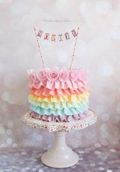 A pastel coloured rainbow cake