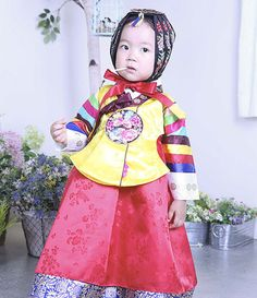 HANBOK Dolbok 3037 Korean Tangyi Korea Dress Baby Girl multicolored stripes