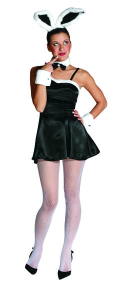 Sexy Bunny Cocktail Women's Costume - Calgary, Alberta. This Playboy Bunny costume is perfect for Halloween, a catering event or an animal-themed costume party.  This is a classic example of the sexy bunny costume. This is a great Playboy Bunny or sexy waitress outfit.  This is a four-piece Playboy Bunny costume with a dress, headband, cuffs and collar. The dress is a little black cocktail dress with a faux fur-lined neckline.
