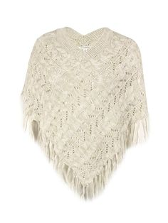 John Paul Richard Women's V-Neck Fringed Poncho Sweater