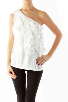 af957eb0ac465 Luxurious white fringe blouse by Alice   Olivia