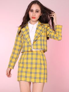 Image of '4-5 weeks waiitng' Cher Yellow Tartan Blazer & Skirt Set