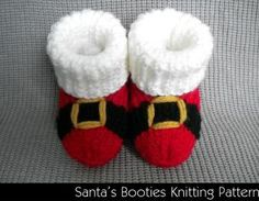 Santa's Baby Booties Knitting Patte..