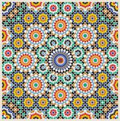 Great source for Tile mural design ideas using Moroccan tile murals, Moorish mosaic mural for kitchen backsplash, bathroom shower walls, swimming pool. Moroccan Art, Moroccan Design, Moroccan Tiles, Moroccan Bedroom, Moroccan Interiors, Moroccan Colors, Islamic Art Pattern, Pattern Art, Motifs Islamiques