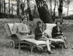 The Queen Mother and her daughters knitting