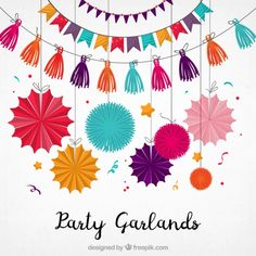 Beautiful colorful garlands for decoration Free Vector