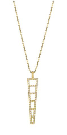 A geometric gold and diamond pendant necklace by Doryn Wallach