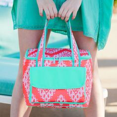 Coral Cove Cooler Bag Monogrammed | The Preppy Pair