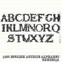 Antique 1490 Engliah Alphabet Clip Art For by graphicdesignbytara NEW..... https://www.etsy.com/listing/196982769/antique-1490-engliah-alphabet-clip-art?ref=shop_home_active_1