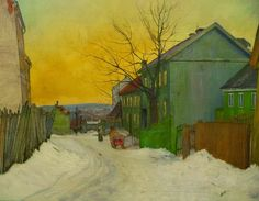 A Street In Oslo by Harald Oskar Sohlberg Handmade oil painting reproduction on canvas for sale,We can offer Framed art,Wall Art,Gallery Wrap and Stretched Canvas,Choose from multiple sizes and frames at discount price. Painting Snow, Winter Painting, Winter Art, Romanticism Paintings, Oil Painting Techniques, Oil Painting Reproductions, Art Blog, Landscape Paintings, Landscapes