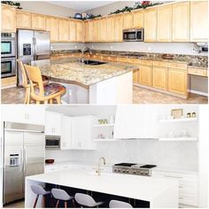 From a sea of honey oak to a crisp clean white kitchen  Small updates can make a world of difference and we love the before and the afters on this kitchen remodel we did  // FYI - my Wednesday wishlist is on the blog (lots of great items for spring and summer). Link in bio. - Architecture and Home Decor - Bedroom - Bathroom - Kitchen And Living Room Interior Design Decorating Ideas - #architecture #design #interiordesign #homedesign #architect #architectural #homedecor #realestate…