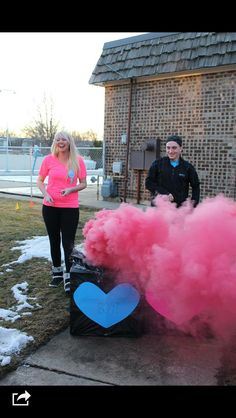 Gender reveal party ! My daughter & her boyfriend found a unique way to announce the expectancy of their little girl! A smoke bomb the color of the sex of the baby going off in both boxes ! I love it!