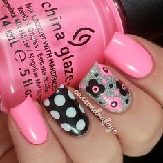 Flowers and polka dot nails