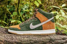 Nike SB Dunk High PRM sneakers, inspired by woodsy terrain around Ithaca, NY.