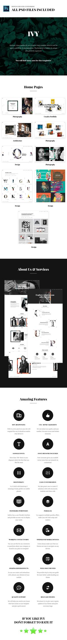 Ivy - Uniqe and Creative Photography/Portfolio/Agency HTML Template #agency #architecture #company • Download ➝ https://themeforest.net/item/ivy-uniqe-and-creative-photographyportfolioagency-html-template/19065708?ref=pxcr