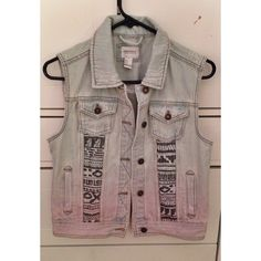Tribal Ombre Denim Vest Tribal Ombre Denim Vest -never worn, brand new without tags -size small but fits more like one size -forever 21 Forever 21 Jeans