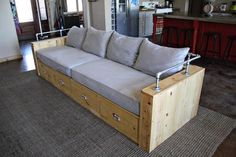 Modern Wood Storage Sofa (Ana White) is part of Diy furniture plans - Hi everyone! Hope you are doing well! I am so excited to share with you today's project plan! My friend Brooke wrote me askin Pipe Furniture, Diy Furniture Plans, Pallet Furniture, Furniture Projects, Modern Furniture, Furniture Design, Diy Projects, System Furniture, Furniture Removal