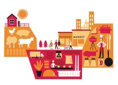 Illustration by Kati Närhi for Atria Annual Report