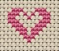Little heart within a heart cross stitch pattern