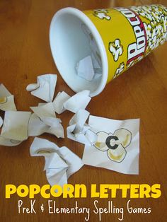 Relentlessly Fun, Deceptively Educational: Popcorn Letters (Pre-K and Elementary Spelling). She includes the full alphabet on popcorn as a free printable! Spelling Games, Spelling Activities, Literacy Activities, Spelling Test, Reading Activities, Educational Activities, Kindergarten Language Arts, Kindergarten Literacy, Early Literacy