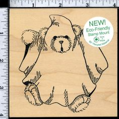 JUDIKINS Halloween Ghost Teddy Bear mounted rubber stamp - UNINKED! #JudiKins