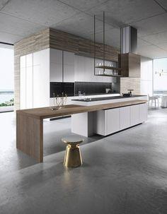 Une cuisine au sol et plafond gris béton - 7 styles de cuisine pour trouver le vôtre - Elle Décoration