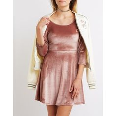 Charlotte Russe Velvet Scoop Neck Skater Dress (£27) ❤ liked on Polyvore featuring dresses and dusty pink