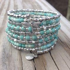 Darling Dragonfly Multi Coil Memory Wire Wrap Bracelet With Seashell Charm #FashionJewelryTips #wirejewelry
