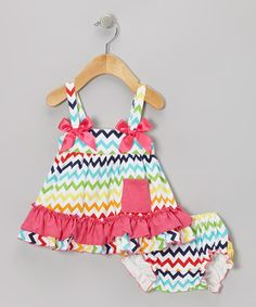 Take a look at this Rainbow Zigzag Ruffle Swing Top & Diaper Cover - Infant by Baby Gem by Royal Gem Clothing on #zulily today!