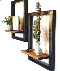 Wooden Wall Shelves, Wooden Bookcase, Wall Shelf Decor, Wall Mounted Shelves, Metal Shelves, Corner Bookshelves, Frame Shelf, House Plants Decor, Minimalist Home Decor