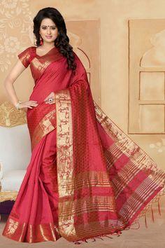 Cherry Red Banarasi Silk Saree With Blouse 65637