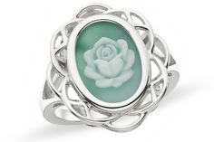 6 Carat Green Agate Sterling Silver Cameo Ring