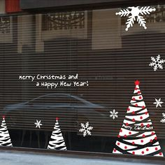 Christmas Tree Large Wall Sticker Merry Christmas Sign Tree Flake Wall Decal Coffee Shop Clothes Shop Window Glass Decoration