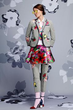 Thom Browne | Resort 2015 Collection | and yeass, skirts and work-ish pants do go together #expecttheunexpected #florals #crayy