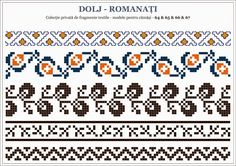 Semne Cusute: OLTENIA - motive traditionale romanesti; Dolj - Romanati Folk Embroidery, Learn Embroidery, Embroidery Patterns, Stitch Patterns, Knitting Charts, Hand Knitting, Knitting Patterns, Loom Beading, Beading Patterns