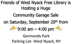 Community Garage Sale Run by Friends of West Nyack Free Library - Around Town | Nyack-Piermont, New York Patch