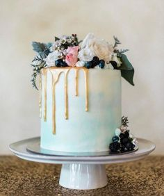 Mint Drip Wedding Cake Rustic Woodland Dripped Cake