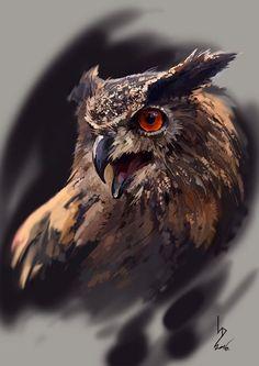 Eagle-Owl by Dmitriy Iorgachov on ArtStation. Owl Photos, Owl Pictures, Owl Tattoo Drawings, Animal Drawings, Tattoo Ink, Arm Tattoo, Owl Bird, Pet Birds, Buho Tattoo